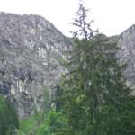 Blick zur Leiter am Schrofenpass